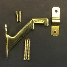 Brass handrail railing brackets with mounting hardware and screws Lot of 2
