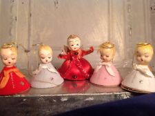 Vintage Christmas Angel Chenille Paper Mache Spun Cotton Felt Ornament Lot 5