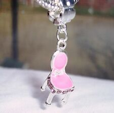 Pink Enamel Rhinestone Vanity Chair Girl Dangle Bead for European Charm Bracelet