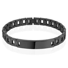 Black IP Chains with ID Plate Mens Tungsten Carbide Bracelet Length: 8.27""