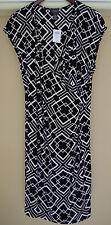 Chicos Travelers Classic Rosemary Wrap Dress Black White Size 3 16 18 XL New 1X