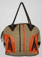 TOKYObay Khaki Canvas Brown Orange Gym Travel Carry On Shoulder Duffle Bag Tote