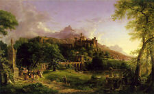 Art oil painting Thomas cole - The Departure Knights in the landscape & castle