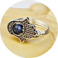Hamsa Hand and Lapis Lazuli Sterling Silver Filled Wire Wrap Ring- Any Size 4-14