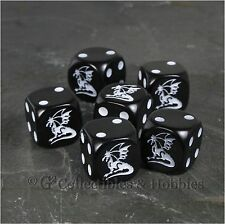 NEW Set of 6 Dragon Black Dice D&D RPG Game 16mm Six Sided D6 Koplow