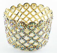 USA Bracelet Austrian Crystal Adjustable Hollow out Party Fancy Fashion Gold AB