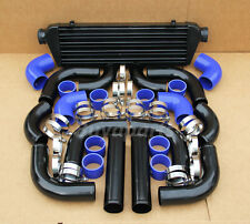 Universal 12 pcs 2.5' BLUE COUPLER+ BLACK PIPING+ INTERCOOLER KIT+T-Bolt CLAMPS