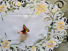 "Lovely Lily Flower Lace 33"" Table Runner  Doily Yellow Flowers Lilies Easter"