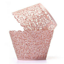 50pcs Laser Cut Cupcake Wrappers Decor Wedding Birthday Party Baby Shower Pink