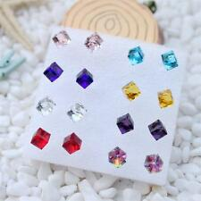 Wholesale 8 pairs/box Cube Square Multi Crystal Rhinestone Stud Earrings Girls