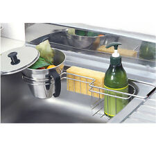 New Stainless Food Waste Tray + Dish Washing Sponge  Holder Scrubber Sink Rack