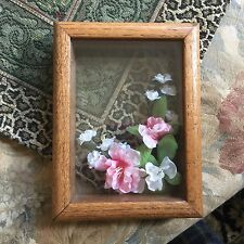 Shadowbox  3-D  Picture Pink Floral Greenery Girl's Home Decor READ DESCRIPTION