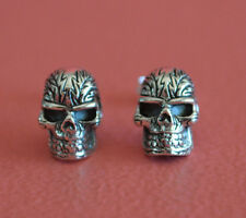925 Sterling Silver Biker Unisex Gothic Skull Stud Earrings Jewelry *NEW*