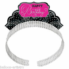 12 Elegante Nero e Rosa Happy Birthday Party ritaglio FOIL Diadema Cerchietti Cappelli
