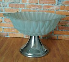 Vintage ~ Frosted Green Glass  Dish / Bowl / Pot / Ornament / Vase   Metal Stand