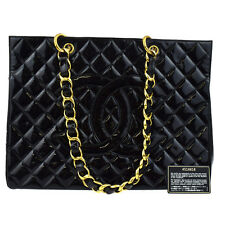 Auth CHANEL CC Quilted Shoulder Tote Bag Patent Leather Black Vintage 99W277