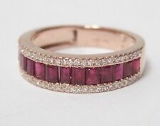 1.80 TCW Ruby Baguettes Diamond Half Eternity Ring size 6.5 Rose Gold 14kt