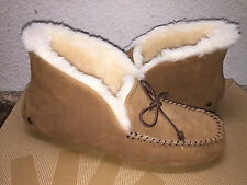 UGG ALENA CHESTNUT FULL SHEARLING LINED MOCASSIN SLIPPERS US 8 / EU 39 / UK 6.5