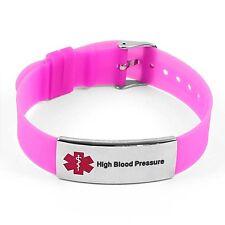 IDtagged Silicone Medical Alert High Blood Pressure Polished Steel Tag Bracelet