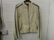 River Island Cream Leather Jacket Mens, Size XL