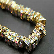 10 Quality Gold Plated Clear AB Crystal Beads, Square Rhinestone Spacer Beads