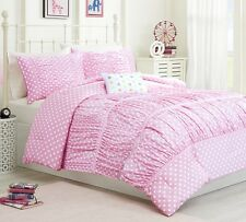 PINK POLKA DOTS 4pc ** Twin **  COMFORTER SET : GIRLS BEDROOM RUCHED BEDDING