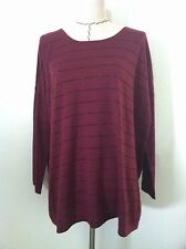 New J Jill womens shirt maroon red striped sparkly oversize tunic wool bl size M