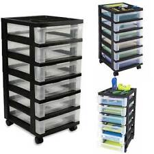 Plastic Storage Cabinet 6 Drawer Rolling Cart Organizer Container Pantry Black
