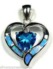 Blue Topaz & Blue Fire Opal Inlay 925 Sterling Silver Heart Pendant For Necklace