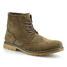 Mens Faux Suede Chelsea Dealer Casual Smart Ankle Desert Brogue Boots Shoes Size
