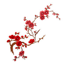 Plum Blossom Flower Embroidery Lace Applique/Patch Motifs Deep Red