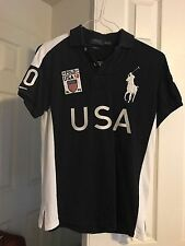 Ralph Lauren Mens Custom Fit Big Pony USA Flag Mesh Polo Shirt S - EUC