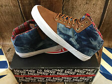 VANS BEDFORD BOOT CL BLUE WHITE PLAID DENIM  MENS SIZE 9 NEW SKATE SHOES