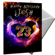 LOVE, HEART - PERSONALISED  Birthday Card Large A5