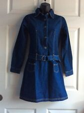 CAMP BEVERLY HILLS Blue Denim 100%Cotton Long Sleeve Girls Shirt Dress Sz 10/12