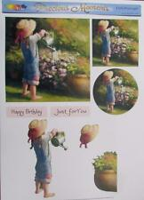 3D A4 Paper Tole Flower Girl Watering Garden 1 Picture + 2 Toppers Card Making