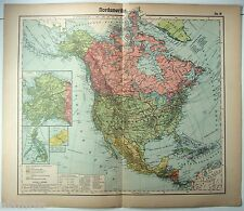 Vintage Original German Map of North America by Otto Herkt c1912