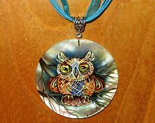Russian hand painted FUNKY OWL BIRD White Lip SHELL pendant Gogbachova signed