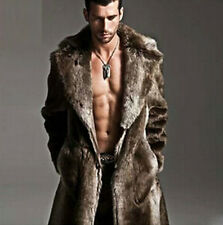 winter mens faux Fur warm Luxury thick jacket coat trench overcoat outwear parka