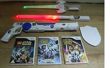 STAR WARS ZAPPER+3 GAMES+2 LIGHT SABERS=NINTENDO Wii=LIGHTSABER=LEGO=CLONE WARS