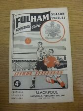 25/02/1961 Fulham v Blackpool  (Faint Crease). Item appears to be in good condit