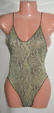 Snakeskin grey green Bodysuit Leotard NEW yoga 8-10 body spaghetti straps Dance