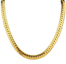 "SOLID 9K 9CT Yellow GOLD GF Open LINK Wide CHAIN NECKLACE 24"" MENS WOMANS SS08B"