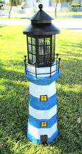 "35"" Decorative Garden Solar Light Powered Lighthouse (Sky Blue/White)"