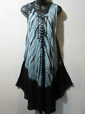 Halloween Hippy Dress Fits 1X 2X 3X Plus Black Tie Dye A Shaped Beatnik NWT G510