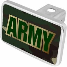 ARMY Gold & Green word on Black Back/ Big Heavy Aluminum Trailer Hitch Cover