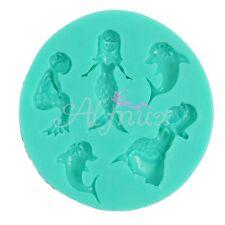 3D Delfín Sirena Serie Silicona Fondant Tarta Moldes Para Chocolate Decoración