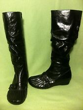 Black Miz Mooz Bunched Leather Knee-High Boots 6