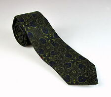 $295 NWT Isaia 7-Fold Green Blue Floral Pattern Wool Blend Hand Made Neck Tie