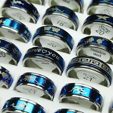 New 15pcs Wholesale Jewelry Lots Double-layer Spin Stainless steel Blue Rings